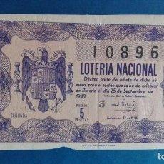 Lotería Nacional: DECIMO DE LOTERIA DE 1948 SORTEO 27. Lote 62970152