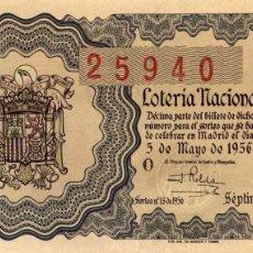 Lotteria Nationale Spagnola: LOTERIA NACIONAL SORTEO 13 DE 1956. Lote 62968404