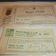 Lotería Nacional: 2 VIEJAS PARTICIPACIONES DE LOTERIA DE ZARAGOZA Y MADRID 1976-1977. Lote 63977747