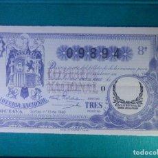 Lotería Nacional: LOTERIA NACIONAL DE ESPAÑA - SORTEO Nº 13 DE 1940 - 1 DE MAYO - 09894 -. Lote 65015431