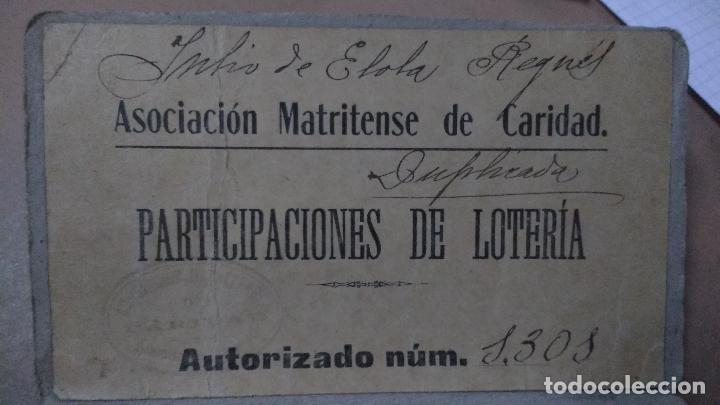MADRID, ASOCIACION MATRITENSE DE CARIDAD, AUTORIZACION PARA VENTA DE PARTICIPACIONES DE LOTERIA,1900 (Coleccionismo - Lotería Nacional)
