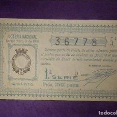 Loterie Nationale: LOTERIA NACIONAL DE ESPAÑA - SORTEO Nº 3 DE 1934 - 22 DE ENERO - 36778. Lote 66200002