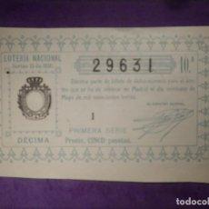 Lotería Nacional: LOTERIA NACIONAL DE ESPAÑA - SORTEO Nº 15 DE 1930 - 21 DE MAYO - 29631. Lote 66500330
