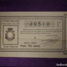 Lotería Nacional: LOTERIA NACIONAL DE ESPAÑA - SORTEO Nº 7 DE 1931 - 2 DE MARZO - 00510. Lote 66786146