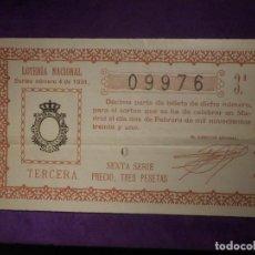 Lotería Nacional: LOTERIA NACIONAL DE ESPAÑA - SORTEO Nº 4 DE 1931 - 2 DE FEBRERO - 09976. Lote 66786574