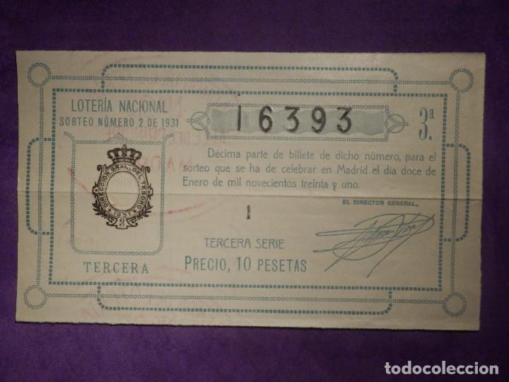 LOTERIA NACIONAL DE ESPAÑA - SORTEO Nº 2 DE 1931 - 12 DE ENERO - 16393 (Coleccionismo - Lotería Nacional)