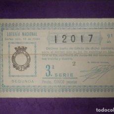 Lotería Nacional: LOTERIA NACIONAL DE ESPAÑA - SORTEO Nº 18 DE 1934 - 21 DE JUNIO - 12017. Lote 66836426