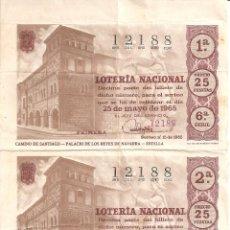 Lotería Nacional: PAREJA SIN CORTAR BILLETES LOTERIA NACIONAL (ANTIGUA) 25 PTS 25-MAYO-1965 Nº 12188 SERIE 6 . EBC-. Lote 66838202