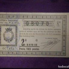 Lotería Nacional: LOTERIA NACIONAL DE ESPAÑA - SORTEO 31 DE 1933 - 1 DE NOVIEMBRE - 08070. Lote 66915586
