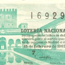 Lotería Nacional: LOTERIA NACIONAL AÑO 1962 SORTEO Nº 5. Lote 67555421