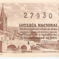 Lotería Nacional: LOTERIA NACIONAL AÑO 1962 SORTEO Nº 35. Lote 67558497