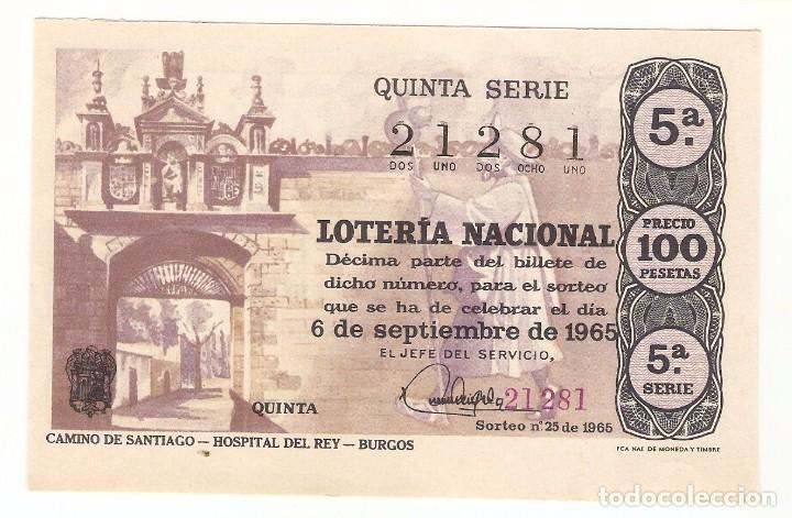 DECIMO LOTERIA NACIONAL AÑO 1965 SORTEO Nº 25 (Coleccionismo - Lotería Nacional)