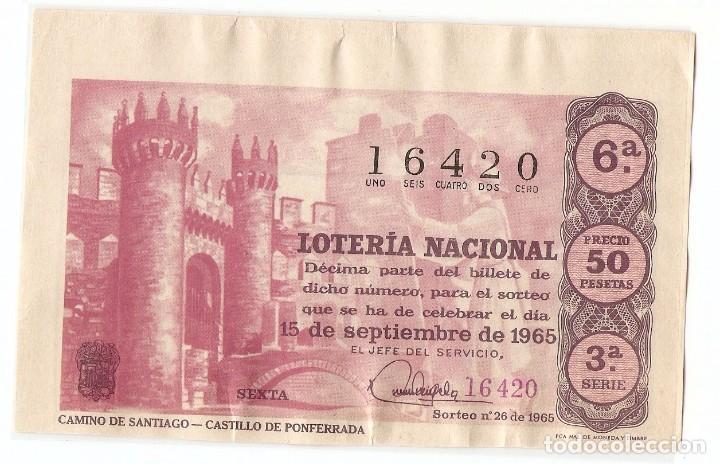 DECIMO LOTERIA NACIONAL AÑO 1965 SORTEO Nº 26 (Coleccionismo - Lotería Nacional)