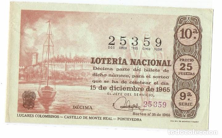 DECIMO LOTERIA NACIONAL AÑO 1965 SORTEO Nº 35 (Coleccionismo - Lotería Nacional)