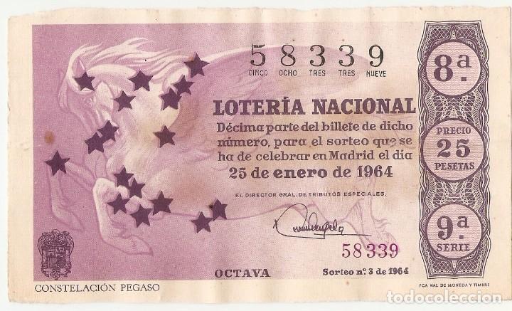 DECIMO LOTERIA NACIONAL AÑO 1964 SORTEO Nº 3 (Coleccionismo - Lotería Nacional)