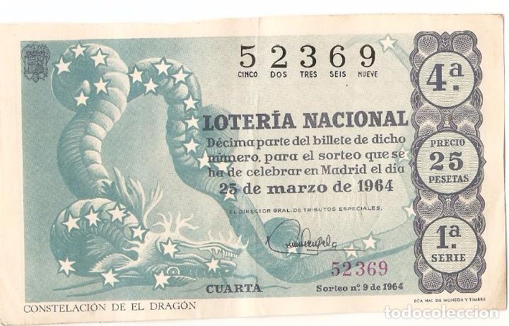 DECIMO LOTERIA NACIONAL AÑO 1964 SORTEO Nº 9 (Coleccionismo - Lotería Nacional)
