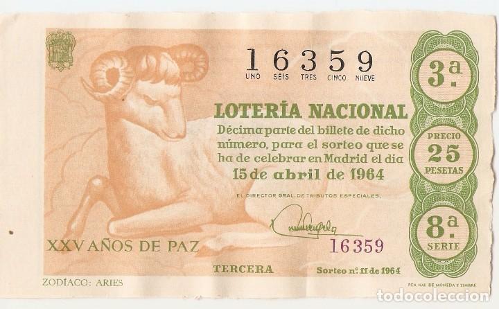 DECIMO LOTERIA NACIONAL AÑO 1964 SORTEO Nº 11 (Coleccionismo - Lotería Nacional)