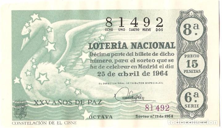 DECIMO LOTERIA NACIONAL AÑO 1964 SORTEO Nº 12 (Coleccionismo - Lotería Nacional)