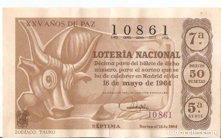 DECIMO LOTERIA NACIONAL AÑO 1964 SORTEO Nº 14 (Coleccionismo - Lotería Nacional)