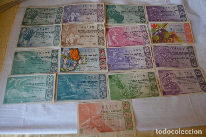 LOTE DE 17 DECIMOS DE LOTERIA NACIONAL - AÑO 1964 - VARIADOS Y TODOS DIFERENTES (Coleccionismo - Lotería Nacional)