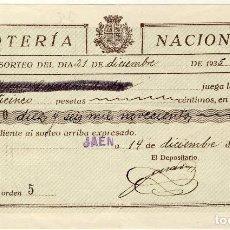 Lotería Nacional: PARTICIPACIÓN SORTEO 21 DICIEMBRE DE 1935. Lote 68732297