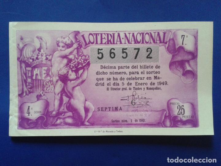 DECIMO DE LOTERIA NACIONAL AÑO 1949 SORTEO Nº 1 (Coleccionismo - Lotería Nacional)