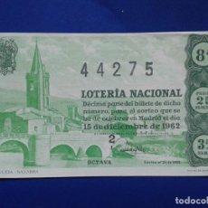 Lotería Nacional: DECIMO DE LOTERIA NACIONAL AÑO 1962 SORTEO Nº 35. Lote 70086257