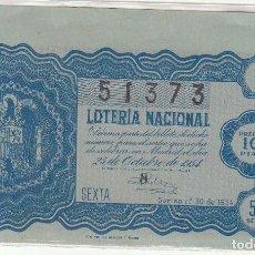 Lotería Nacional: DÉCIMO SORTEO : 25 OCTUBRE 1954.. Lote 70134805