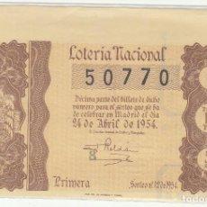 Lotería Nacional: DÉCIMO SORTEO : 24 ABRIL 1954.. Lote 70135589