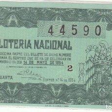 Lotería Nacional: DÉCIMO SORTEO : 14 MAYO 1954.. Lote 70135685