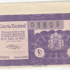 Lotería Nacional: DÉCIMO SORTEO : 26 JULIO 1957.. Lote 70135789