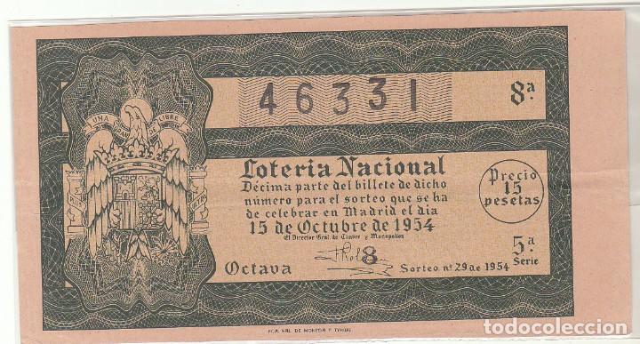 DÉCIMO SORTEO : 15 OCTUBRE 1954. (Coleccionismo - Lotería Nacional)