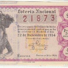 Lotería Nacional: DÉCIMO SORTEO : 22 DICIEMBRE 1954.. Lote 70137185