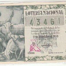 Lotería Nacional: DÉCIMO SORTEO : 22 DICIEMBRE 1959.. Lote 70138805