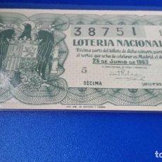 Lotería Nacional: DÉCIMO DE LOTERÍA 1953 SORTEO 18. Lote 70296389