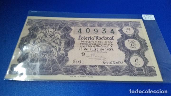 DÉCIMO DE LOTERÍA 1953 SORTEO N 20 (Coleccionismo - Lotería Nacional)