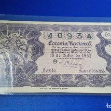 Lotería Nacional - Décimo de lotería 1953 sorteo n 20 - 70298021