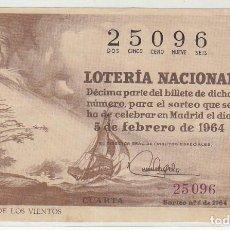 Lotería Nacional: DÉCIMO SORTEO (4) : 5 FEBRERO 1964.. Lote 70431253