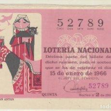 Lotería Nacional: DÉCIMO SORTEO (2) : 15 ENERO 1966.. Lote 70431917