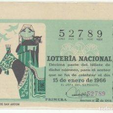 Lotería Nacional: DÉCIMO SORTEO (2) : 15 ENERO 1966.. Lote 70432049