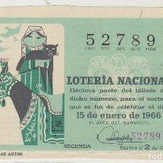 Lotería Nacional: DÉCIMO SORTEO (2) : 15 ENERO 1966.. Lote 70432193