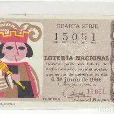 Lotería Nacional: DÉCIMO SORTEO (16) : 6 JUNIO 1966.. Lote 70432469