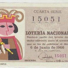 Lotería Nacional: DÉCIMO SORTEO (16) : 6 JUNIO 1966.. Lote 70432637