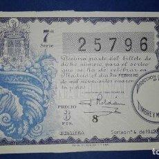 Lotería Nacional: DECIMO DE LOTERIA DE 1942 SORTEO 4. Lote 71539391