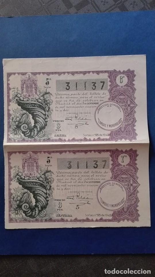 DECIMOS DE LOTERIA DE 1942 SORTEO 25 (Coleccionismo - Lotería Nacional)