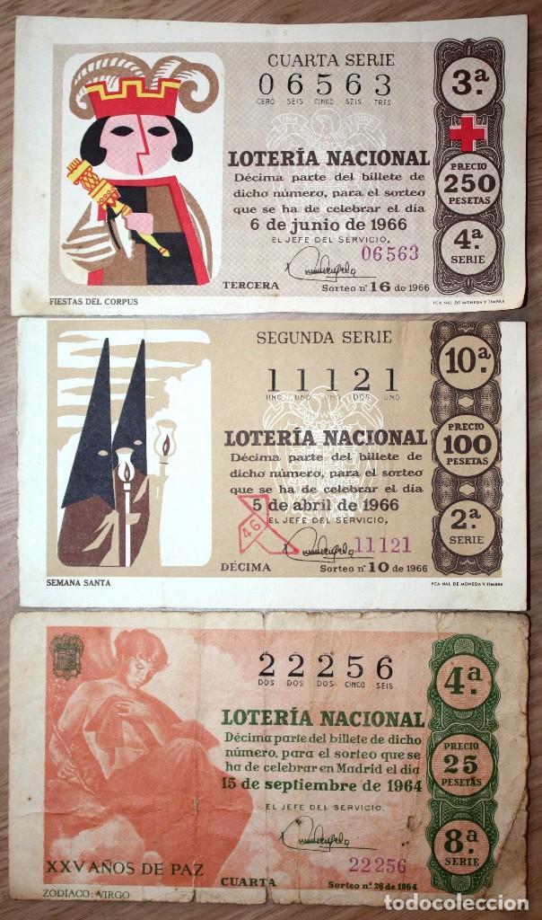3 BILLETES DE LOTERÍA NACIONAL 1964 Y 1966 (2) (Coleccionismo - Lotería Nacional)