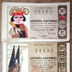 Lotería Nacional: 3 BILLETES DE LOTERÍA NACIONAL 1964 Y 1966 (2). Lote 71707427
