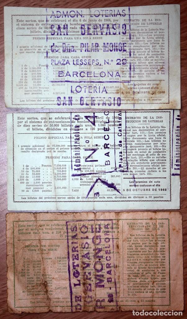 Lotería Nacional: 3 BILLETES DE LOTERÍA NACIONAL 1964 Y 1966 (2) - Foto 2 - 71707427