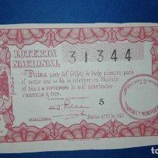Lotería Nacional: DECIMO DE LOTERIA DE 1943 SORTEO 25. Lote 72228871
