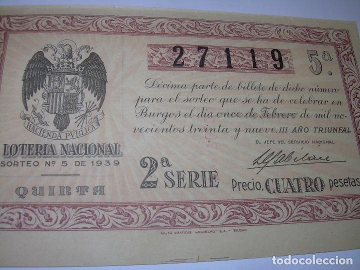 DECIMO LOTERIA.....AÑO TRIUNFAL..1.939 (Coleccionismo - Lotería Nacional)